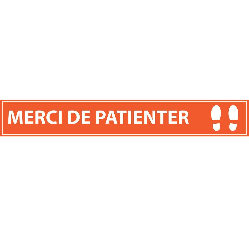 Merci de patienter 700*100 orange - adhésif de marquage au sol