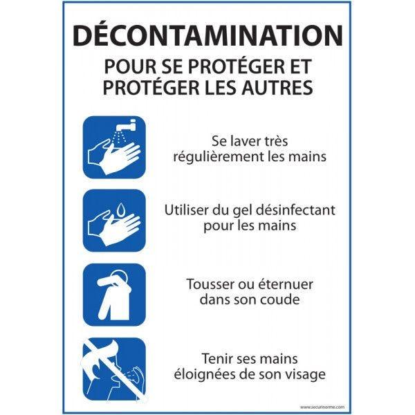 Panneau Décontamination - consignes pour se protéger... - A4 - PVC