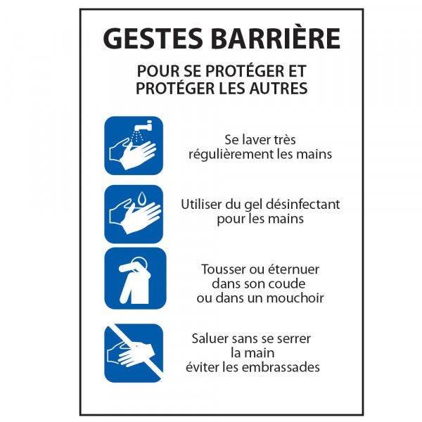 Panneau Gestes Barrière - consignes pour se protéger... - A4 - PVC