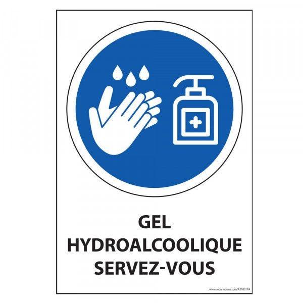 Panneau Gel hydroalcoolique servez-vous - Vertical - A5 - Vinyle
