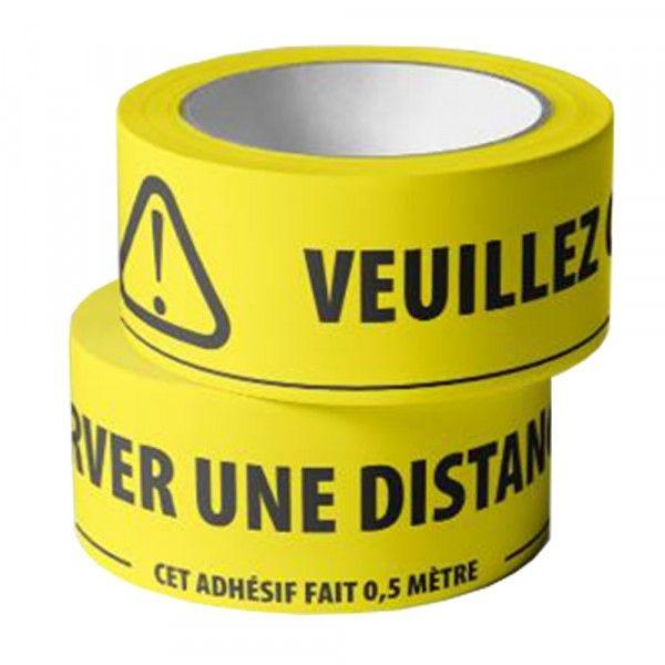 Adhésif de marquage au sol -Veuillez conserver une distance d1,5m - jaune fluo (photo)