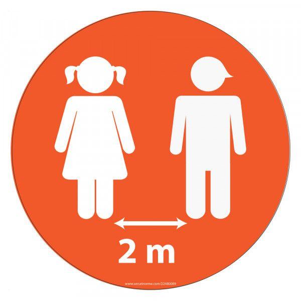 Marquage au sol Young - Fille / Garçon 2m - Diam 300mm Orange