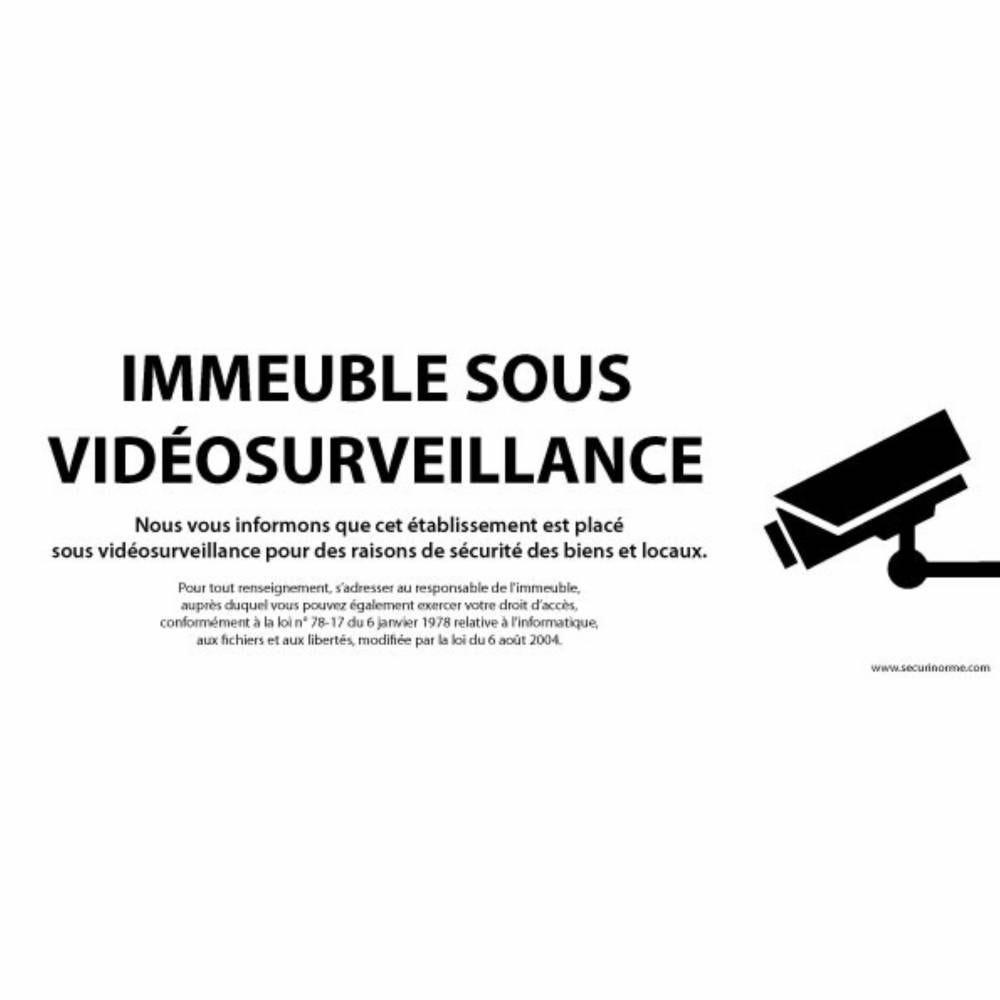 Panneau Immeuble sous vidéosurveillance - Vinyle - 450 x 150 mm