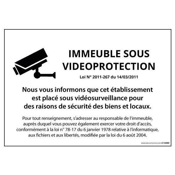 Panneau Immeuble sous vidéosurveillance - Vinyle - 420 x 300 mm