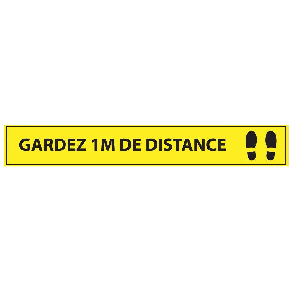 Adhésif de marquage au sol Gardez 1m de distance - 700x100mm - jaune