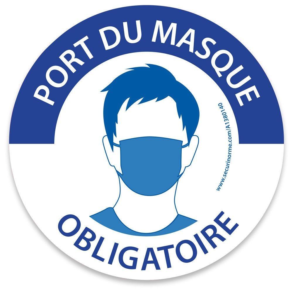 Marquage au sol rond Masque obligatoire bleu et blanc