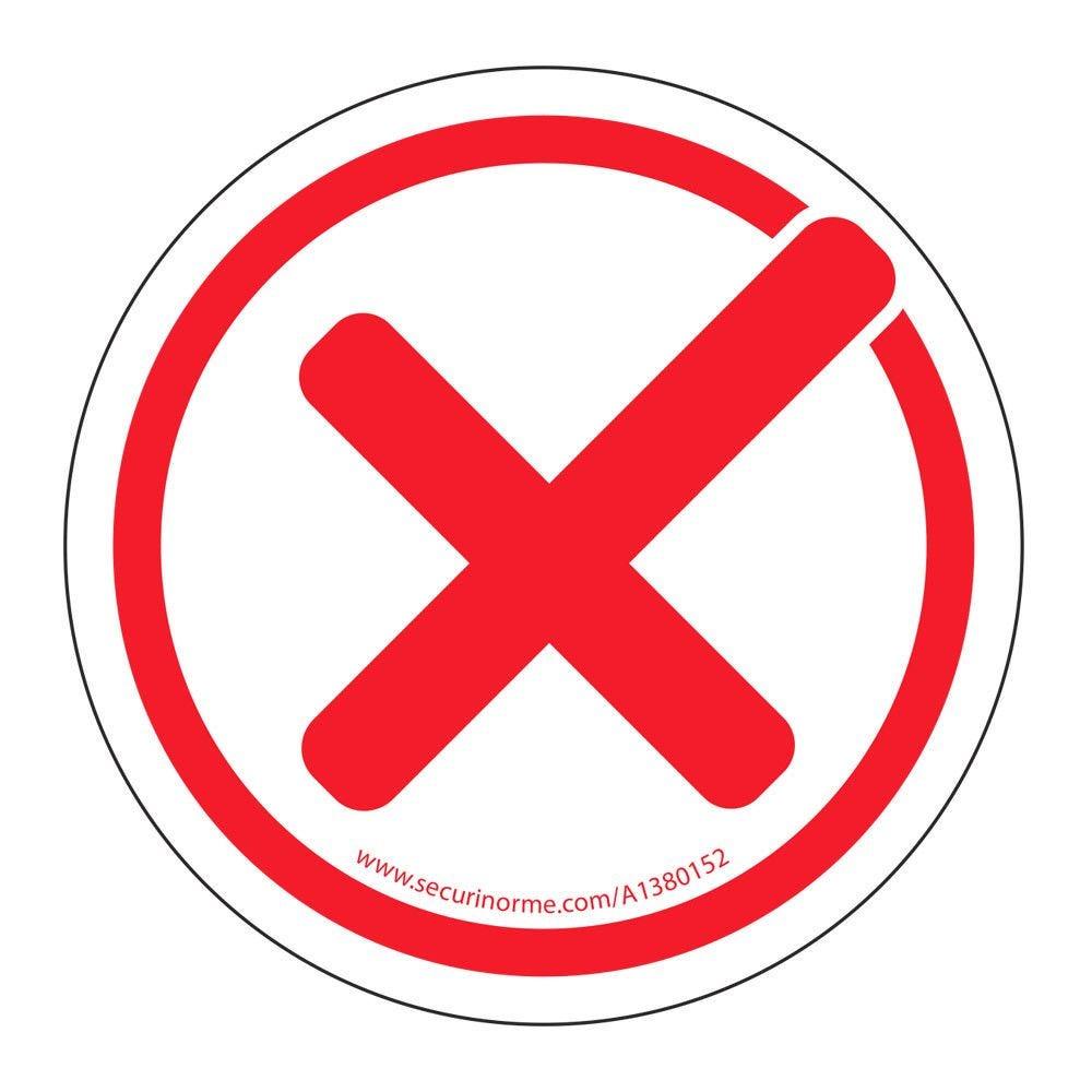 Panneau coche rouge interdiction - adhésif Diam. :100 mm