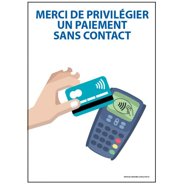 Panneau Merci de privilégier un paiement sans contact - Vinyle - A5