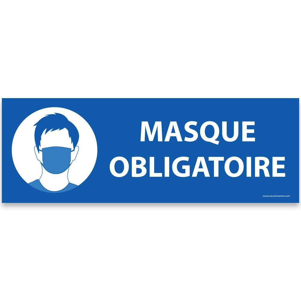 Panneau d'obligation Masque obligatoire bleu - 450 x 150 mm- Vinyle