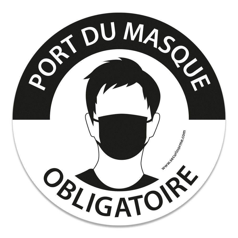 Panneau Masque obligatoire Gravé Diam. :200 mm - Couleur de Fond:Inox