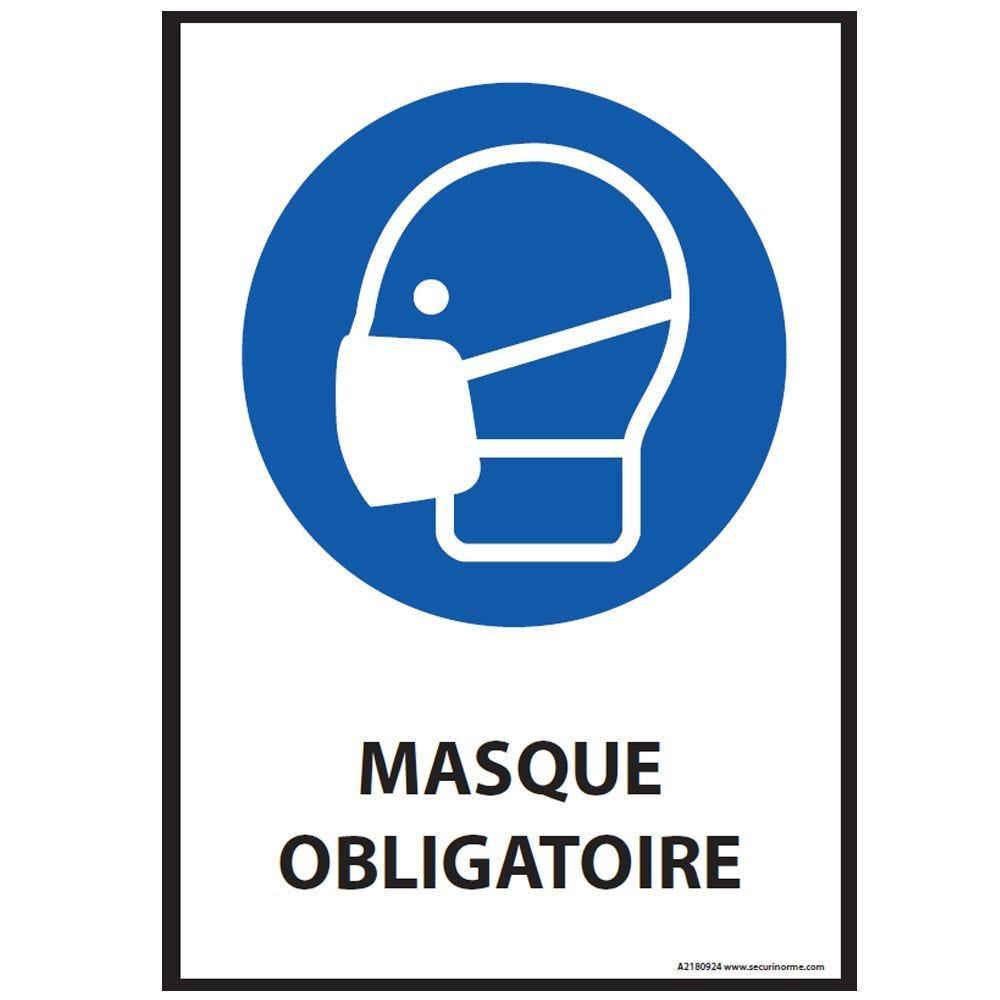 Panneau - Masque obligatoire - M016 ISO EN 7010 - portrait PVC dos adhésif - A3