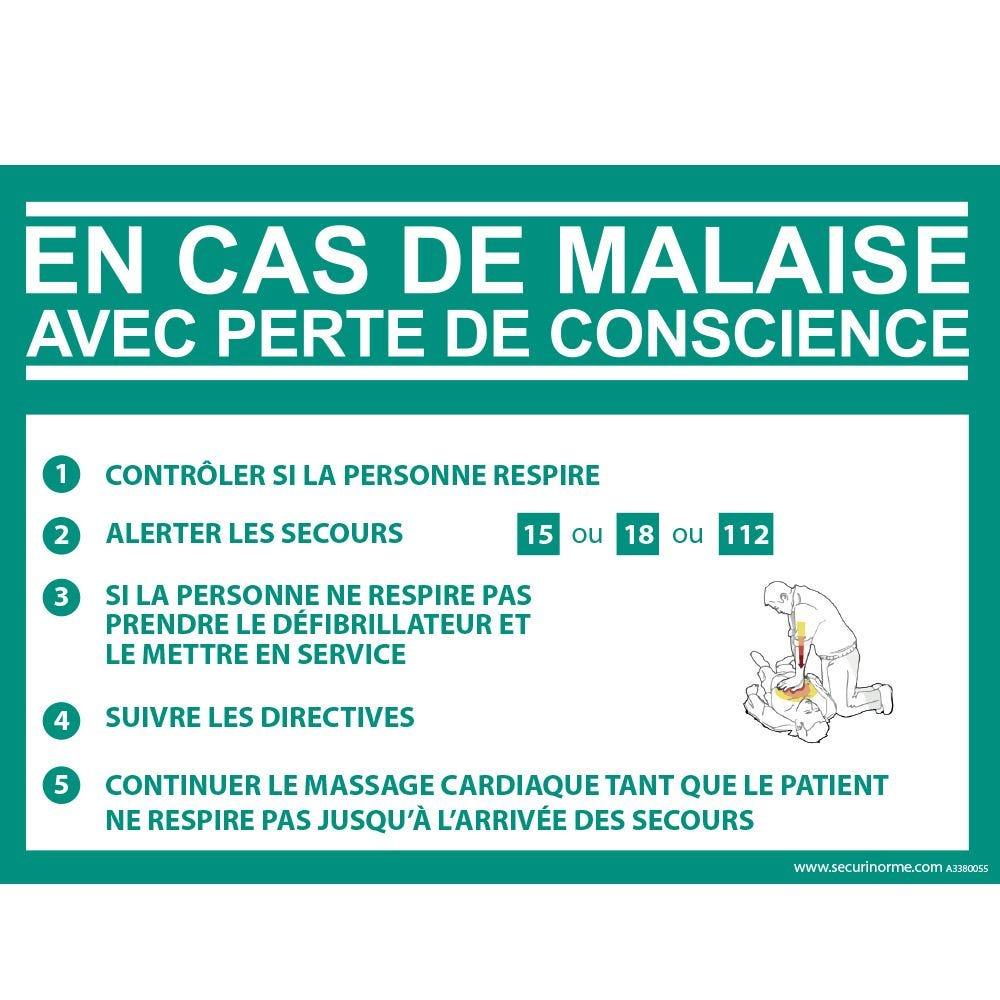 Panneau Consigne Défibrillateur en cas de malaise DAE - Vinyle - 420 x 300 mm