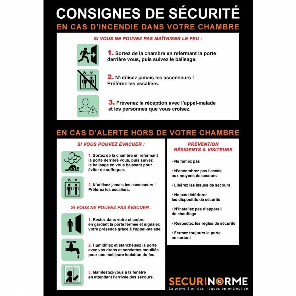 Poster Consignes Incendie pour Hôpital et Maison de Retraite A3