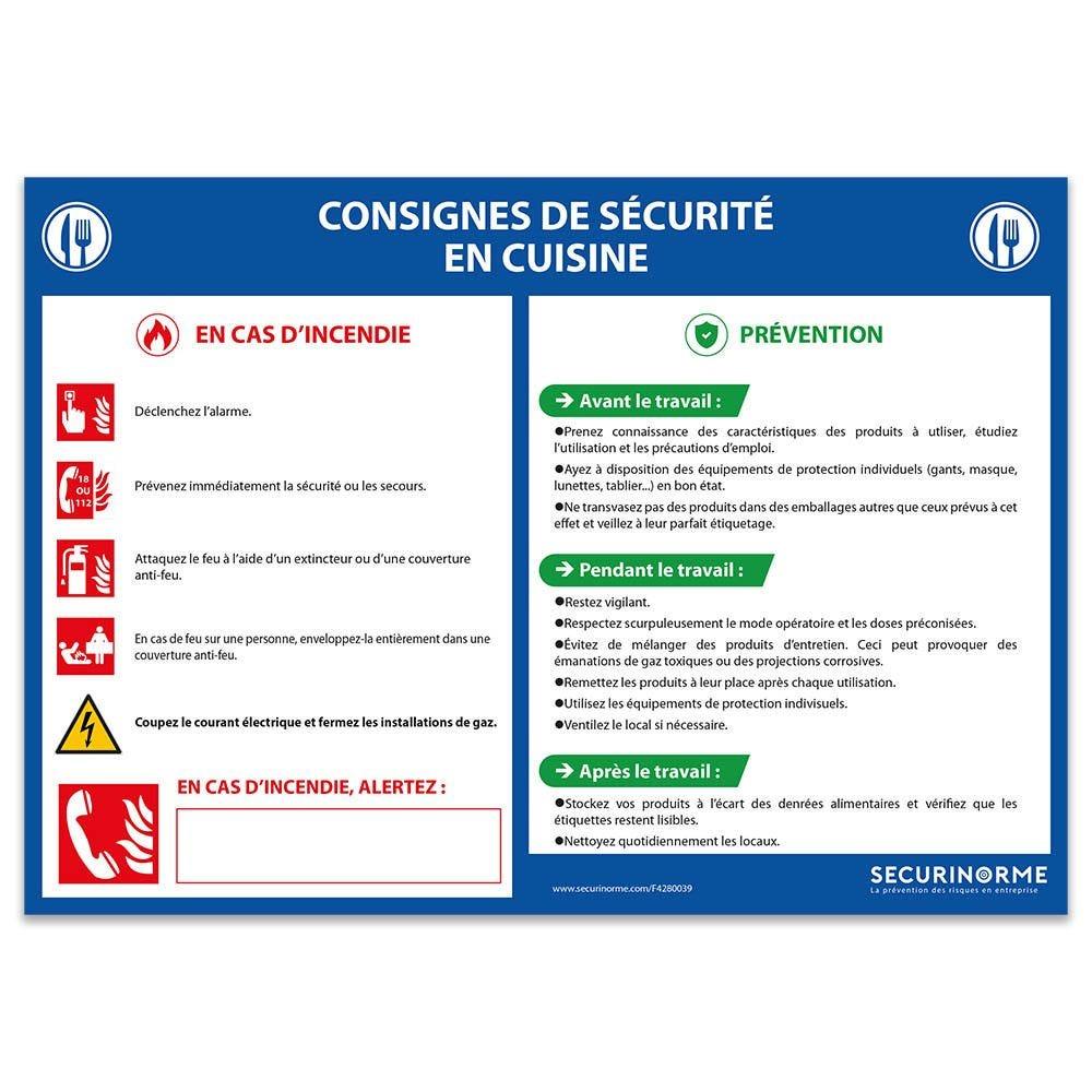 Panneau consignes de sécurité en cuisine - A4- PVC
