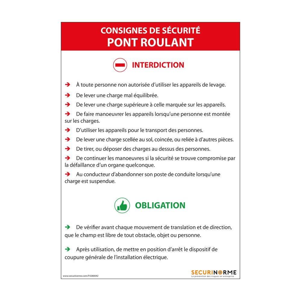 Panneau consignes de sécurité pont roulant - A4- PVC