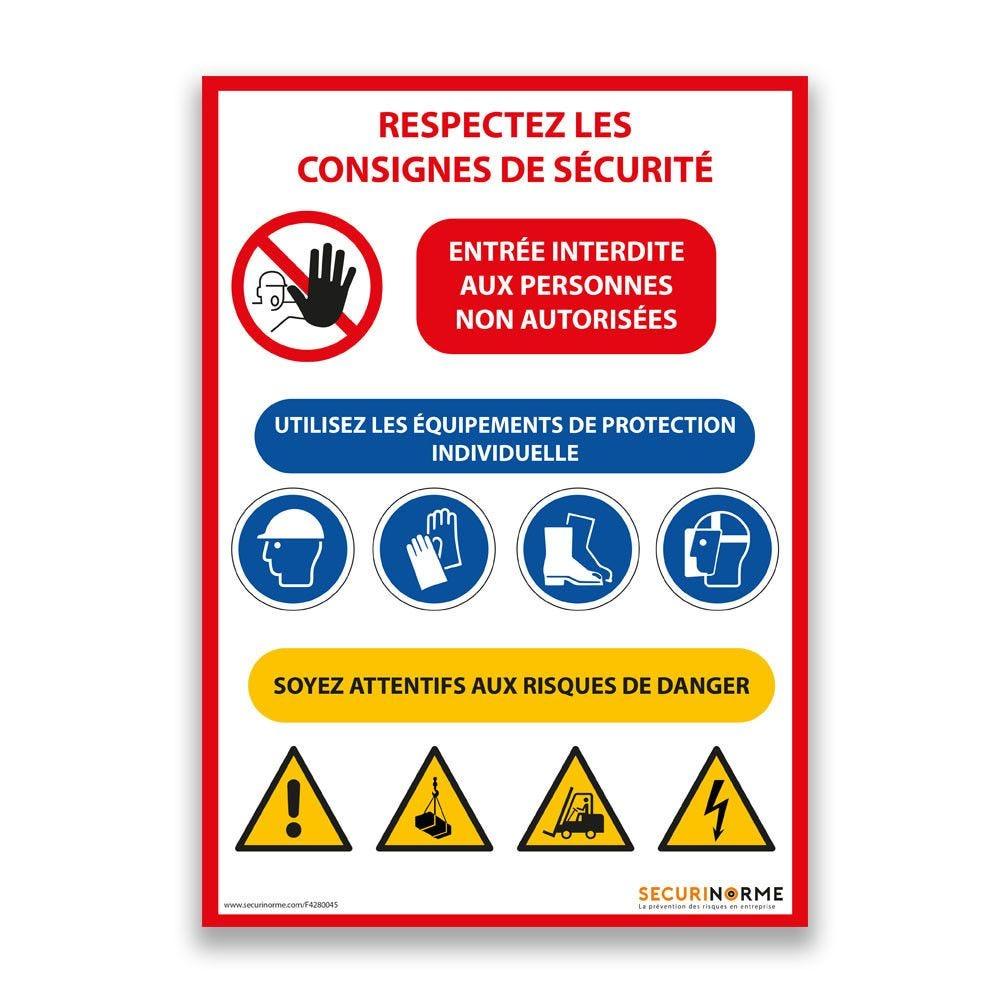 Panneau consignes de sécurité chantier - A4- PVC