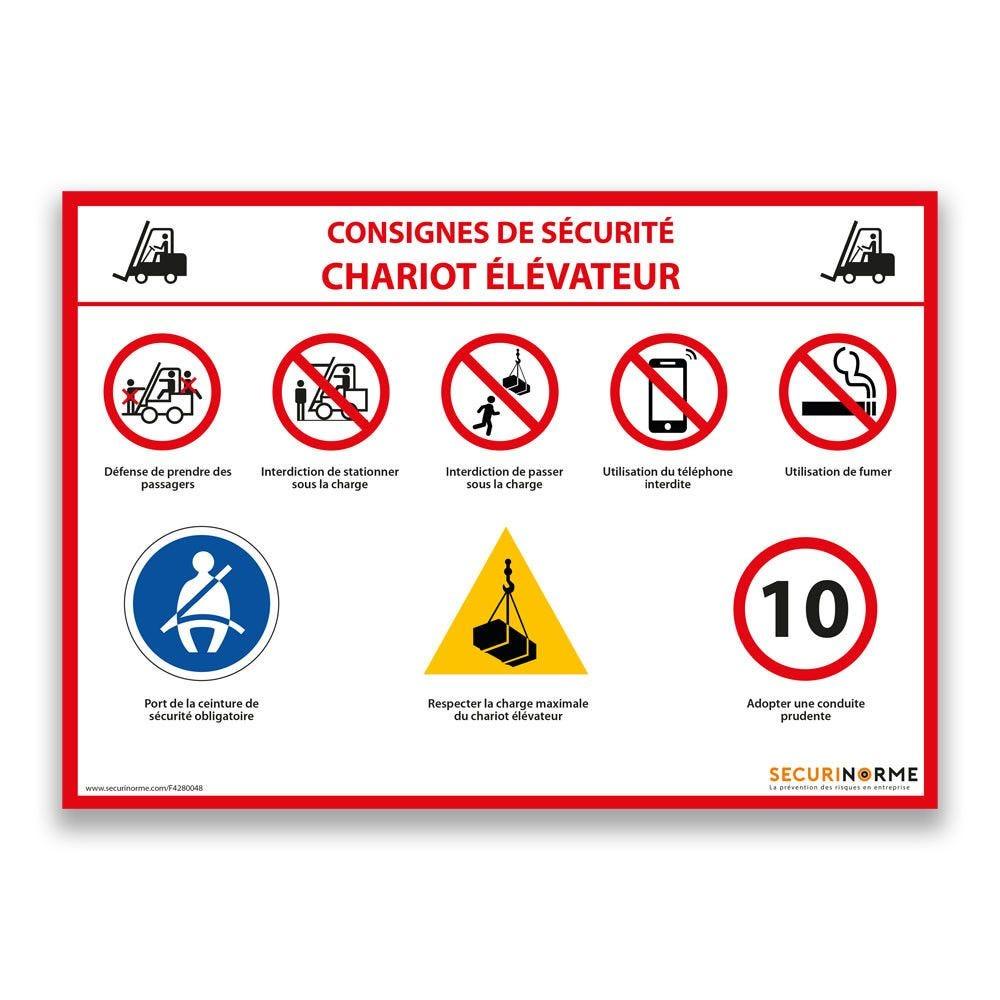 Panneau consignes de sécurité chariot élévateur - A4- Vinyle
