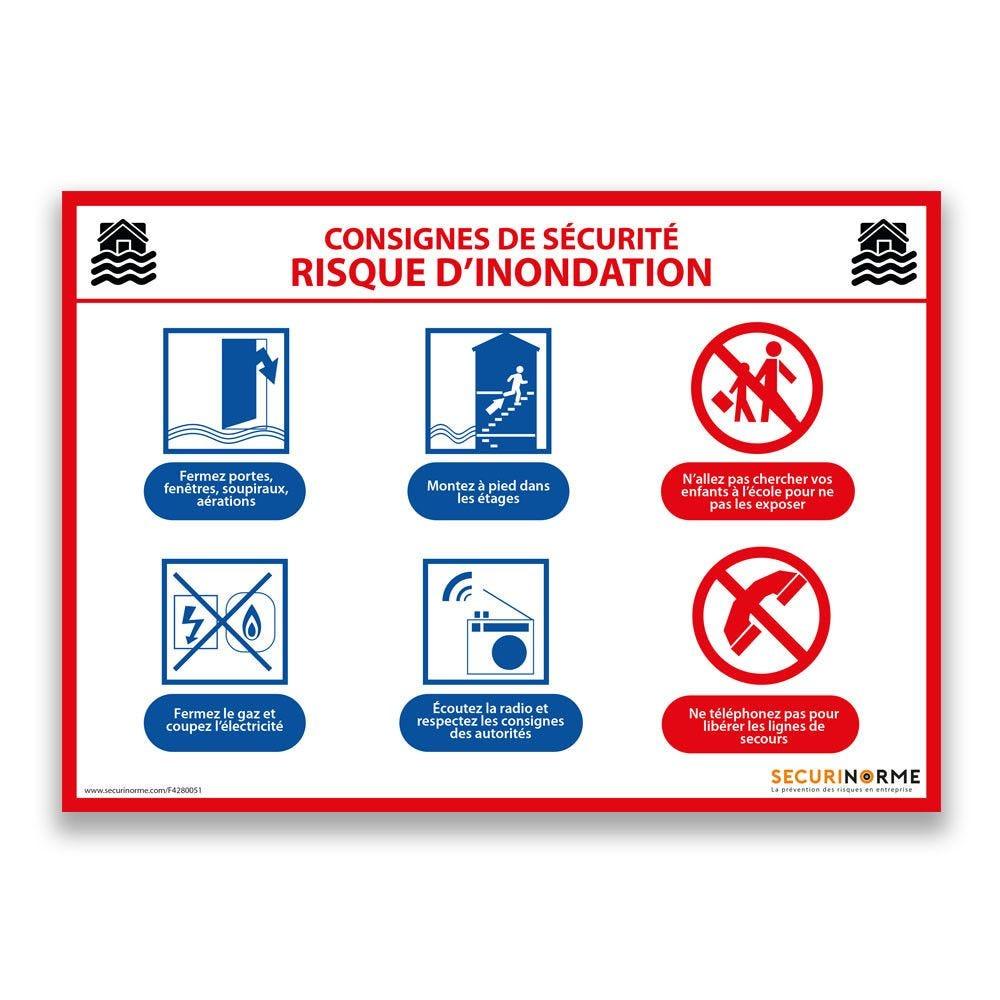 Panneau consignes de sécurité risque d'inondation - A4- Vinyle