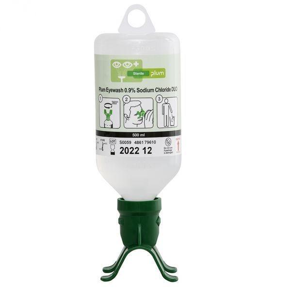 Flacon de Solution Saline Lave-Yeux DUO pour Douche Oculaire - PLUM - 500 mL