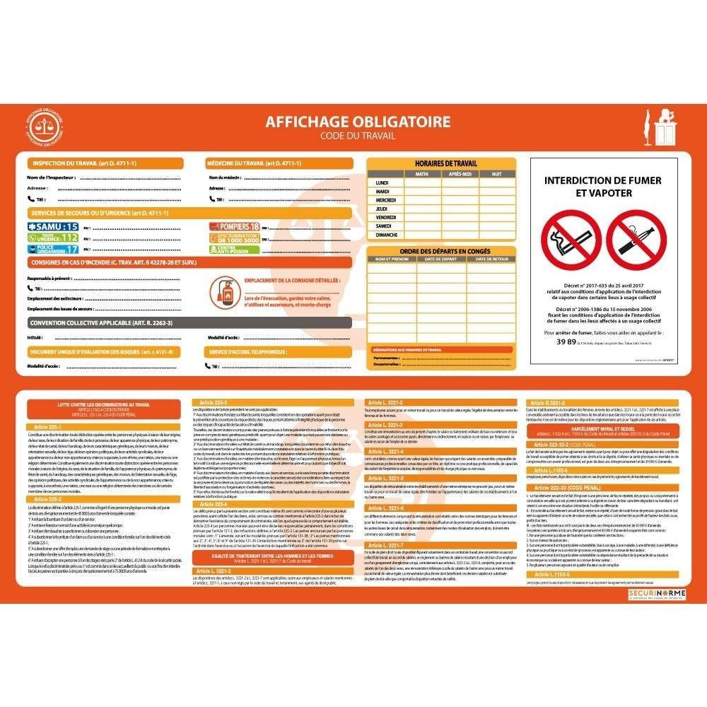 Affiche obligatoire pour toutes les entreprises - A3