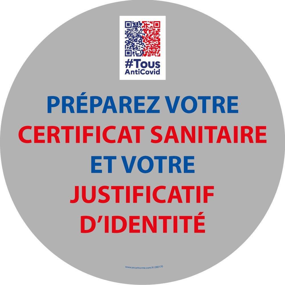 Marquage Sol 'Préparez votre certificat sanitaire et justificatif' - diam 300 mm