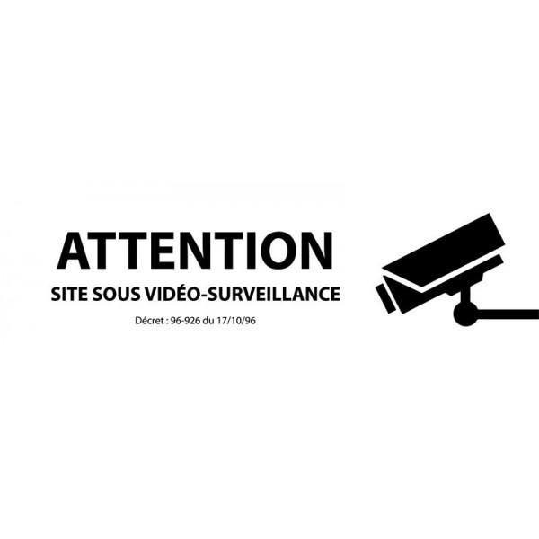 Attention site sous vidéo-surveillance' avec décret autocollant inox 450x150mm