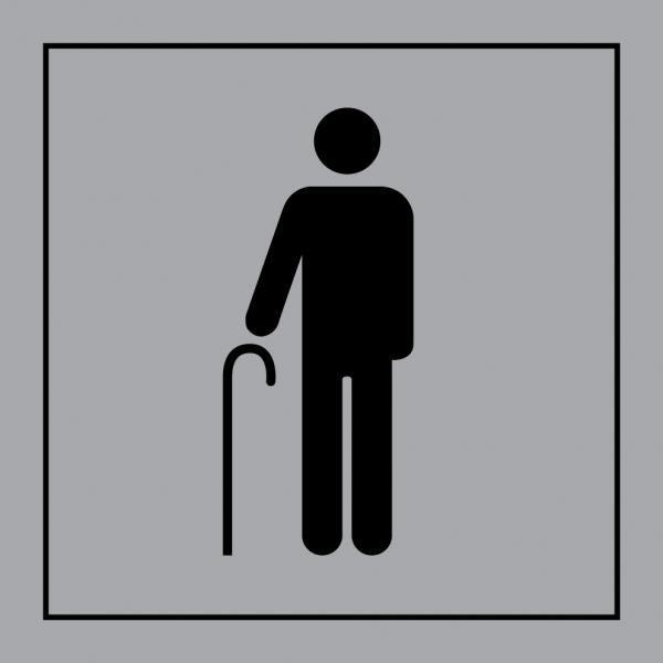 Picto 055 'accès prioritaire aux personnes âgées' autocollant fd:gris 350x350mm