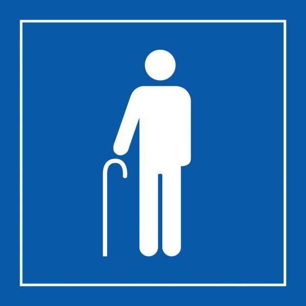 Picto 055 'accès prioritaire aux personnes âgées' autocollant fd:bleu 350x350mm