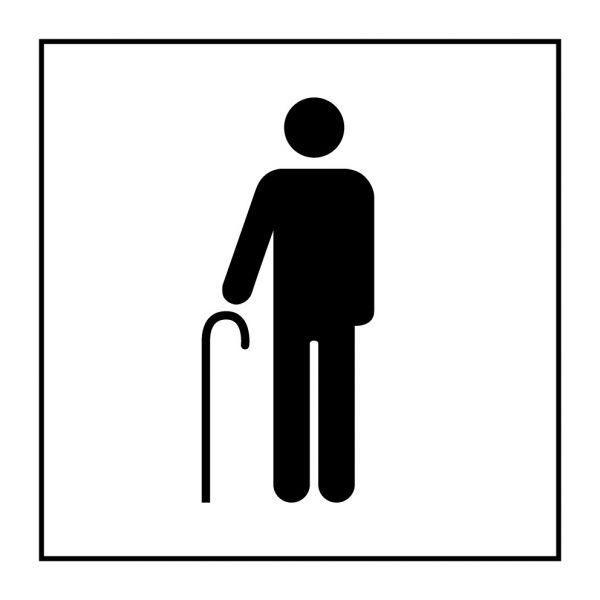 Picto 055 'accès prioritaire aux personnes âgées' pvc fond:blanc 350x350mm