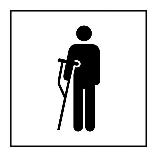 Picto 056 'accès prioritaire personnes blessées' autocollant fd:blanc 125x125mm