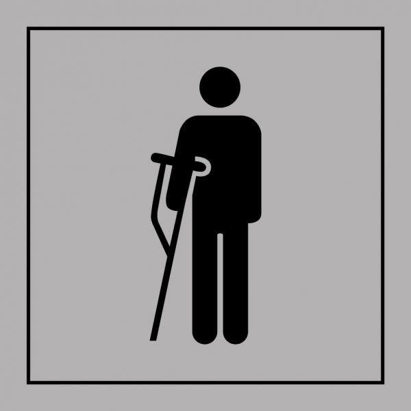 Picto 056 'accès prioritaire personnes blessées' pvc fond:gris 125x125mm