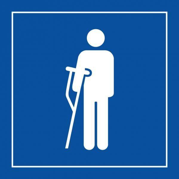 Picto 056 'accès prioritaire personnes blessées' pvc fond:bleu 125x125mm