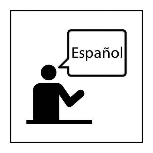 Picto 'communication dans la langue spécifiée' autocollant fd:blanc 350x350mm