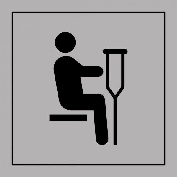 Picto 023 'siège prioritaire pour personnes blessées' pvc fond:gris 250x250mm