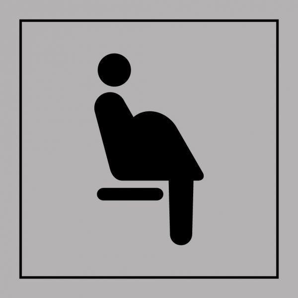 Picto 026 'siège prioritaire femmes enceintes' autocollant fd:gris 350x350mm