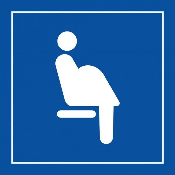 Picto 026 'siège prioritaire femmes enceintes' autocollant fd:bleu 350x350mm