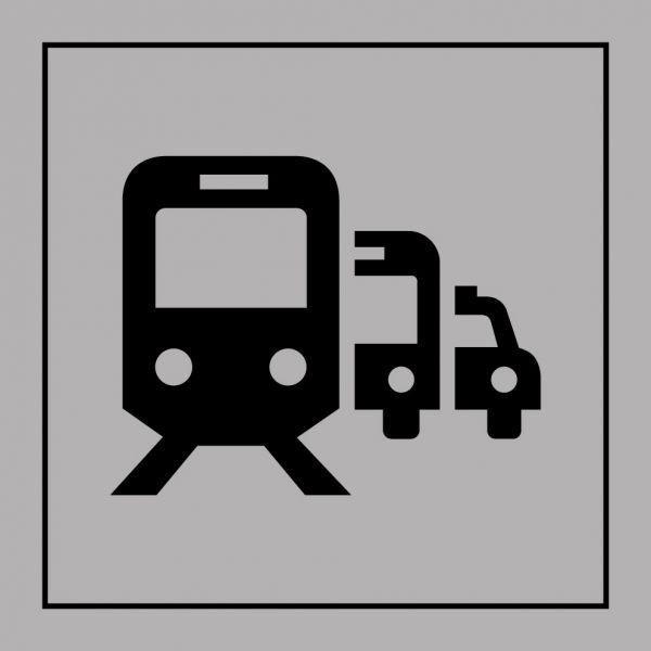 Picto 'pôle de correspondance ou gare routière' autocollant fd:gris 250x250mm