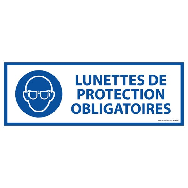 Panneau 'lunettes de protection obligatoires' m004 pvc 450x150mm