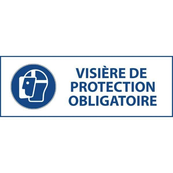 Panneau 'visière de protection obligatoire' m013 pvc 450x150mm