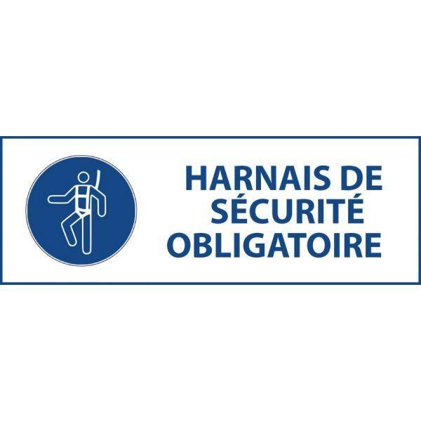 Panneau 'harnais de sécurité obligatoire' m018 pvc 450x150mm
