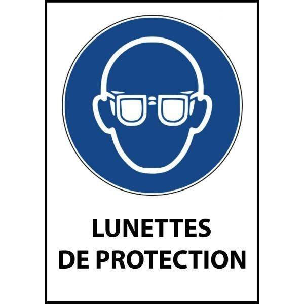 Panneau 'lunettes de protection obligatoires' m004 pvc dos adhésif a5