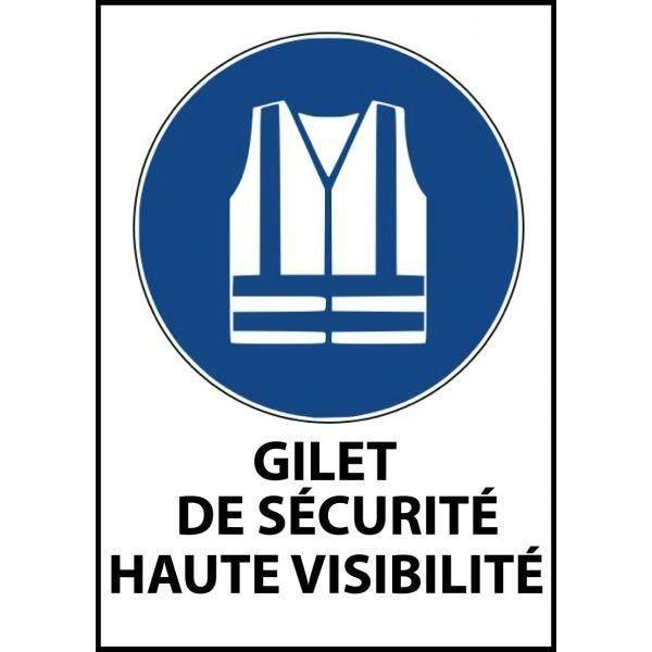 Panneau 'gilet sécurité haute visibilité obligatoire' m015 a4 pvc dos adhésif