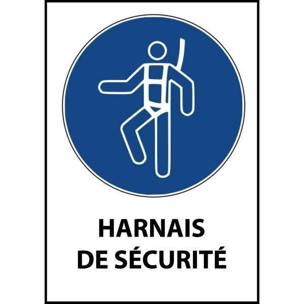 Panneau 'harnais de sécurité obligatoire' m018 a4 pvc dos adhésif