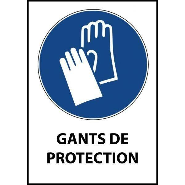Panneau 'gants de protection obligatoires' m009 a4 pvc dos adhésif