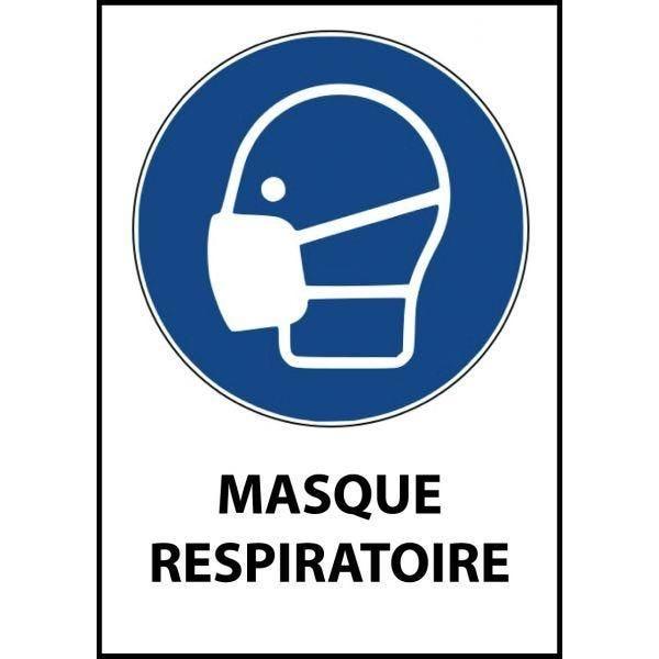 Panneau 'masque respiratoire' m016 a4 pvc double face à suspendre