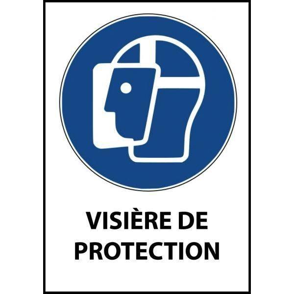 Panneau 'visière de protection obligatoire' m013 a4 pvc double face à suspendre