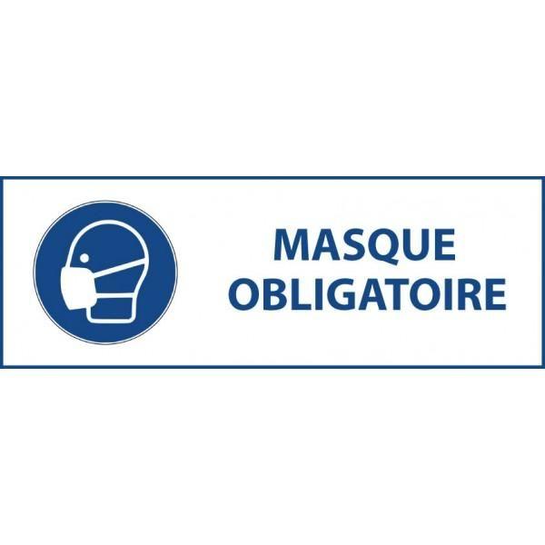 Panneau 'masque obligatoire' m016 autocollant 450x150mm