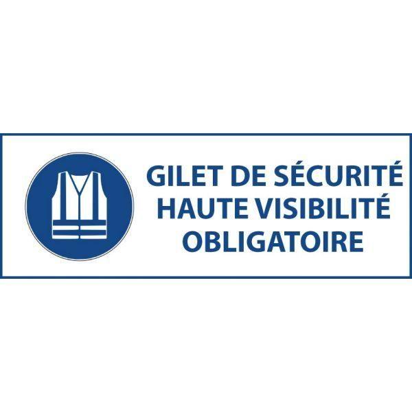 Panneau 'gilet sécurité haute visibilité obligatoire' m015 autocollant 450x150mm