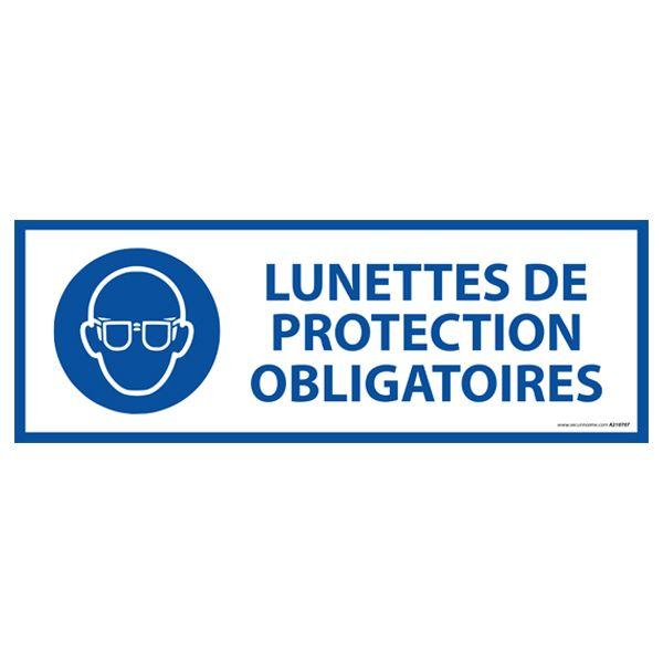 Panneau 'lunettes de protection obligatoires' m004 autocollant 450x150mm