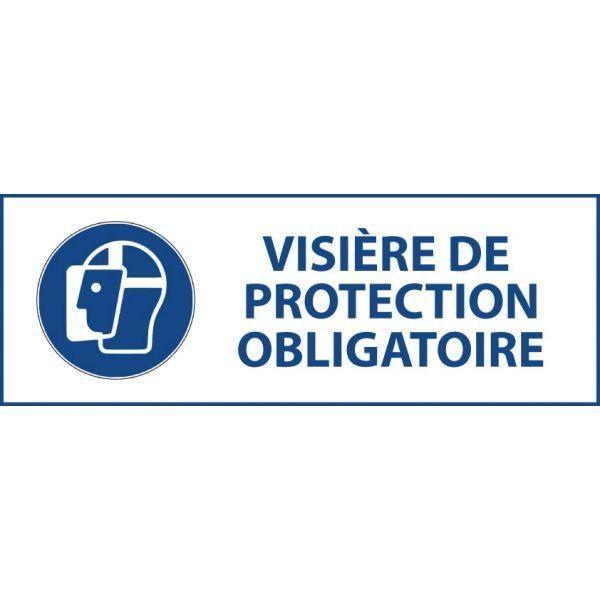 Panneau 'visière de protection obligatoire' m013 autocollant 450x150mm